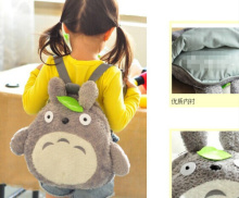 Plush TOTORO Backpack ; 36*33CM Kid's Kawaii Green Leaf TOTORO Plush Children Backpack Shoulder Pack(China)