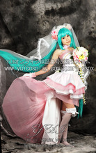 Hatsune Miku VOCALOID Cosplay Costume Bride Fancy Dress Miku Gorgeous Satin Dresses Adult Halloween Costumes for Women Customize(China)