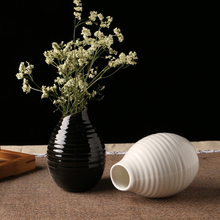 white/black ceramic vase home decor desktop vase waterdrop shape flower pots handmade wedding vases