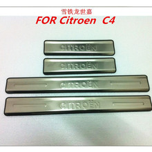 Car styling  Accessories  FOR  Citroen C4 Stainless Steel DOOR SCUFF SILL PANEL STEP PLATE Cover Protector Plates