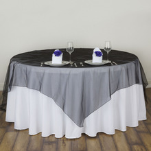 "New High Quality 72"" x 72"" Organza Home Supplies Table cloth Europe Style Wedding Party Table Cloth  Cover Overlay"