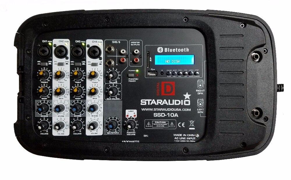 STARAUDIO 2Pcs 10″ 1500W PA DJ Stage Club Speakers W/ 2CH Wireless Mics Stands Powered Mixer Cables Wired Mic SSD-10A