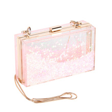 Pink Fashion New Box Sequins Acrylic Clutch Chain Clutches Women Shoulder Bags Hard Evening Bags Wedding Party Prom Purse(China)