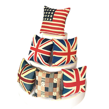 Union Jack Cushion Decorative Pillow Office Sofa Cushion American National Flag  Chair Cushion Embroidered Jacquard Cushion