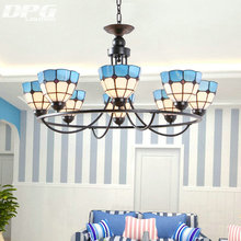 Mediterranean lamp 4 6 8 E27 retro living room chandelier Tiffany style stained glass iron lights, pastoral bedroom lamp(China)