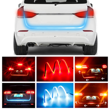 OKEEN 1set Red blue LED Strip Lighting Rear Trunk Tail Light Dynamic Streamer Brake Turn Signal Reverse Leds Warning light