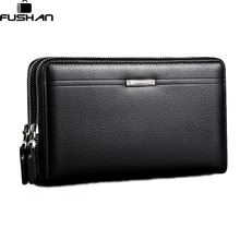 Fashion Brand Business Genuine Leather Men's Clutch Bag High Capacity Double Zipper Long Clutch Wallets Card Holder Coin Purse(China)