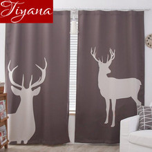 Deer Curtains Windows 3D Living Room Kitchen Curtains Drapes Finished Product Bedroom Divider off Door Curtains T&375 #30(China)