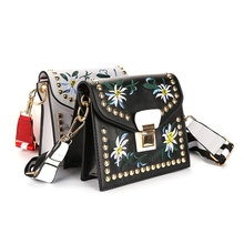 Guapabien National Style Embroidery Women Shoulder Bag Rivets Patch Saddle bag Solid Color Hasp Mini Bag PU Leather Women Bag