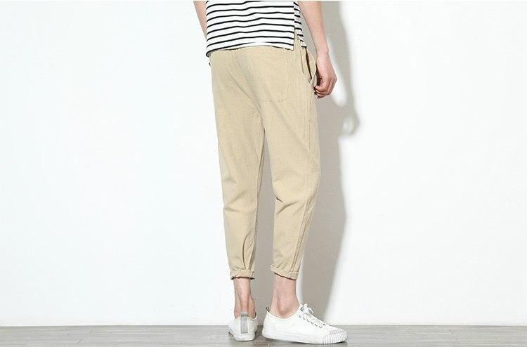 Cotton Linen Joggers Khaki Men's Harem Pants 4