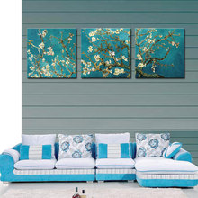 3 Pieces Almond Blossom Wall Art Painting Apricot Flower Van Gogh's Works Print on Canvas For Home Decor with Wooden Framed(China)