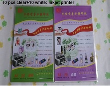 For metal, jade,glass,shell,crystal, flowers (10 clear+10 white) /lot  inkjet water-based inkjet water transfer paper