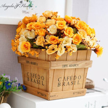 Retro Wood vase with silk flower cute artifical rose home/office table decoration grass plant flowerpot storage box 1 set