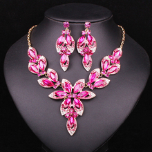 Fashion Pink Crystal Jewelry Sets Bridal Necklace Earrings Sets Wedding Party Jewelery Costume Jewellery Decorations Wholesale(China)