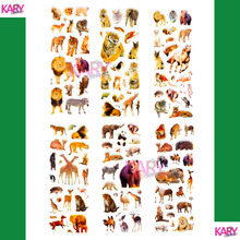 6 Sheets Wildlife Wild Safari Park Animals Scrapbooking Bubble Puffy Stickers Kawaii Emoji Reward Kids Toys Factory Direct Sales