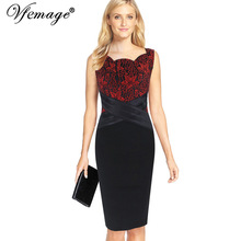 Vfemage Womens Elegant Floral Lace Cross Waist Vintage Tunic Slim Cocktail Party Wear To Work Fitted Pencil Bodycon Dress 7181(China)