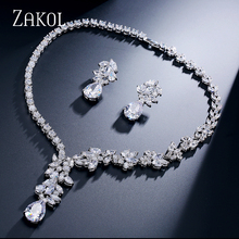 ZAKOL Unique Round And Marquise Zircon Surrounded Jewelry Set Sliver Color Cluster Drop Jewelry For Women Best Gift FSSP005
