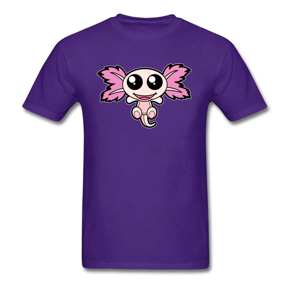 Pinky The Axolotl Casual Short Sleeve Tees Father Day Round Neck 100% Cotton Fabric Boy T Shirt Casual Tee-Shirt Funny Pinky The Axolotl purple