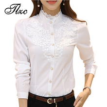 TLZC Korean Lady Fashion Shirts Lace Flower Pattern Plus Size S-4XL Puff Sleeve Office Women Blouse White Color Casual Shirts