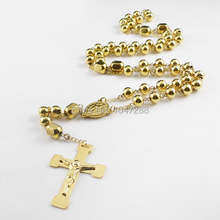 Men's Rosary Pendant Necklace Cross Necklace Charms Gold Titanium Steel Ball Chain Beckham For Men Fashion Jewelry