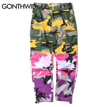 GONTHWID Tri Color Camo Patchwork Cargo Pants Men's Hip Hop Casual Camouflage Trousers Fashion Streetwear Joggers Sweatpants(China)