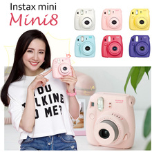 Fujifilm Fuji Film Photo Camera Mini8 Instax For Polaroid Camera Mini Checky One Time Shot White Pink Yellow Blue Red Purple