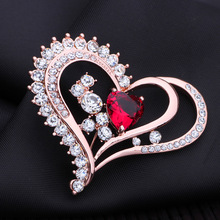 Big heart red Crystal peacock Brooches Pin Up Jewelry For Women Suit Hats Clips Antique Silver Corsages Brand Free Shipping