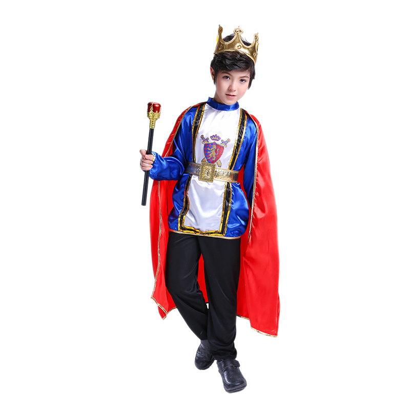 Halloween Boy Prince Cosplay Costume Fancy Medieval European Polyester Cloak Top Pants Kids Set Children's Day Performance Gift(China)
