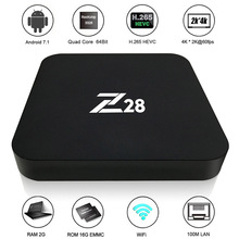 Z28 Android 7.1 TV Box RK3328 Quad Core 64Bit 2G + 16G / 1G+8G H.265 UHD 4K VP9 HDR 3D Mini PC WiFi EU/US Plug(China)
