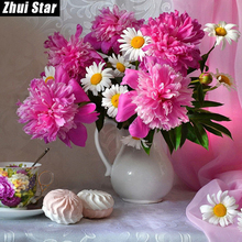 "Full Square Diamond 5D DIY Diamond Painting ""flowers on the table"" Embroidery Cross Stitch Rhinestone Mosaic Painting Home Decor(China)"