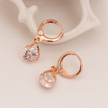 Golden Plated Party Accessry Girl's Shinning Clear Simulated Crystal Decoration Earring Luxury Drop Earring