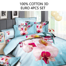 Euro size 4pcs quilt cover set 100% cotton 3D bedding set  high quality duvet cover flat sheet pillowcase blue flower linen