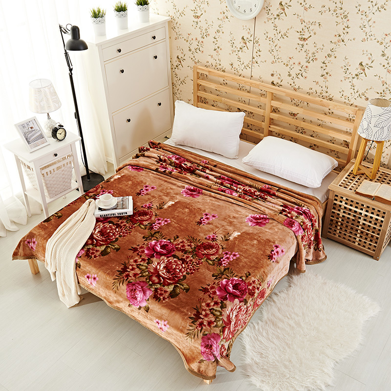 chinese style flowers printing Blanket Fleece soft bedsheet winter bedding/sofa Throws Twin Full Queen Double size plaids<br>