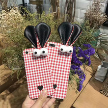 2017 Luxury Fashion Cute Girl 3D Big Eyes Ear Cell Phone Cases For Apple iPhone 6 6S 6Plus 7 7Plus Girl Plaid Gewen Case Cover(China)