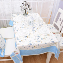 Romantic Blue Vintage Floral Tablecloths Elegant Blue White Tablecloth Fashion Lace Table Overlays Modern Kitchen Table Cover