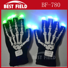 Free Shipping 200pcs/100pairs LED Flashing Gloves Colorful Fingers Light pumpkin gloves For Christmas Halloween Party Decoration(China)