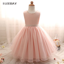 Baby Girls Evening Dress Kids Sequins Lace Princess Dress with Pearl Belt Toddler Wedding Gown Clothes Children Costume Vestido(China)