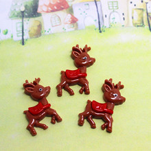10pcs 20*29mm Cute Resin Reindeer flat back cabochon charm supply DIY Craft Scrapbooking(China)