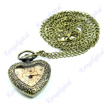Vintage Carving Bronze Heart Shape Quartz Pocket Watch Necklace Chain Pendant