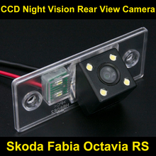 Waterproof 0Lux/ 4 LED Rear view Camera BackUp Reverse Parking Camera for Skoda Fabia Octavia RS Car 8062LED