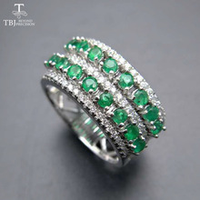TBJ, 100% natural green emerald gemstone ring in 925 sterling silver fine jewelry for women ,Real zambia emerald Ring with box(China)
