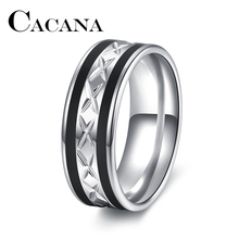 CACANA High Quality Black WITH Silver Stainless Steel Male Ring Fashion Jewelry Accessories Unique Design Stainless Steel ring(China)