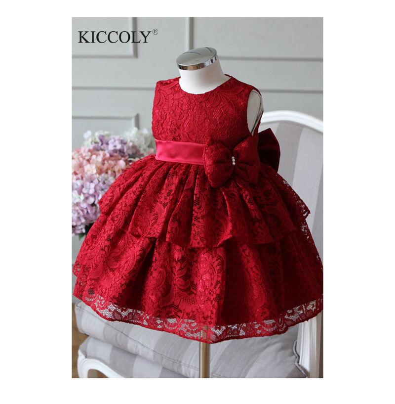 2017 New Baby Girl Dress 6-24M Red And Gray Bow Ball Gown  Baby Girls Birthday Dresses Vestido Infant Baptism Christening Dress<br>