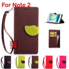 Leaf Clasp Buckle PU Leather Leathe Flip Clamshell Wallet Wallt Phone Cell Case shell Cover Bag For Samsung Galaxy Note 2 Note2(China)