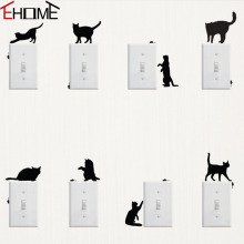 Playing Cats And Mice Switch Stickers Adhesive Vinyl Decals Bedroom Living Room Wall Decor Creative Animals Sticker(China)
