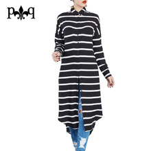 Women T Shirt Dress Long Sleeve Casual Women Office Work Dresses Side Slit Black And White Striped Tshirt Dress Robe Femme