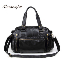 iCeinnight Vintage men messenger bags high quality soft pu leather solid hand bags large capacity travel Bags handsome man(China)