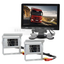 DIYKIT Wire 7 inch Touch Car Monitor +  2 x Rear View CCD Waterproof Car Camera Kit for Horse Trailer Motorhome System