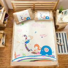 2016 Summer Foldable Ice Silk Bedsheet Three Pieces Cartoon Animal Air conditioning mat straw mat Bed Mattress Protector Cover(China)