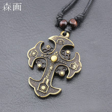 Ethnic Imitation Yak Bone Carved Tribal Cross Pendant Gothic Wood Beaded Black Rope Necklace for Men Women's Gift Amulet MN182